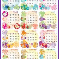 Colorful 2012 Zodiac Calendar