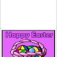 Printable Colorful Basket Of Eggs - Printable Easter Cards - Free Printable Cards
