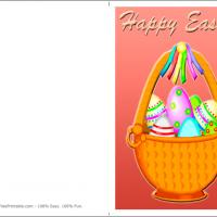 Printable Colorful Easter Basket With Eggs - Printable Easter Cards - Free Printable Cards