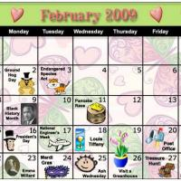 Printable Colorful February 2009 Calendar - Printable Monthly Calendars - Free Printable Calendars