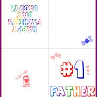 Printable Colorful Stamped #1 Father Card - Printable Fathers Day Cards - Free Printable Cards
