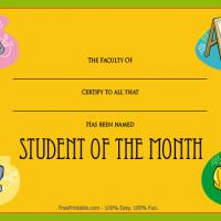 Printable Colorful Student Of The Month Award - Printable Awards - Misc Printables