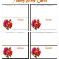 Printable Colorful Turkey Place Cards - Printable Place Cards - Free Printable Cards