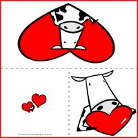 Printable Cow Heart Card - Printable Valentines - Free Printable Cards
