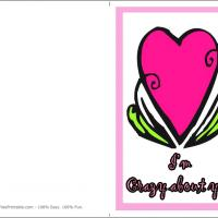 Printable Crazy About You - Printable Valentines - Free Printable Cards
