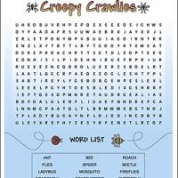 Printable Creepy Crawlies - Printable Word Search - Free Printable Games