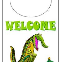 Printable Holiday Crocodile Door Knob Hanger - Printable Fun - Free Printable Activities