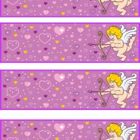 Cupid in Lilac Background Wall of Hearts
