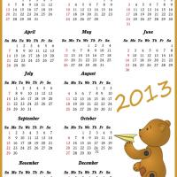 Printable Cute Bear Flying a Plane 2013 Calendar - Printable Yearly Calendar - Free Printable Calendars