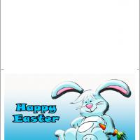Printable Cute Blue Bunny - Printable Easter Cards - Free Printable Cards