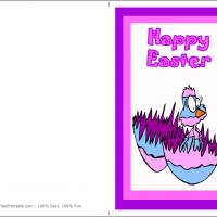 Printable Cute Chick In Colorful Egg - Printable Easter Cards - Free Printable Cards