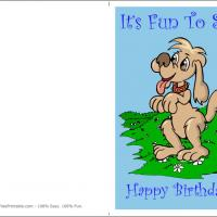 Printable Cute Dog On the Field - Printable Birthday Cards - Free Printable Cards