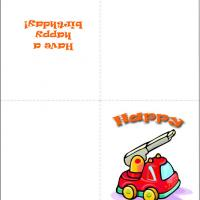 Printable Cute Fire Engine - Printable Birthday Cards - Free Printable Cards