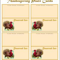 Printable Cute Turkey Place Cards - Printable Place Cards - Free Printable Cards