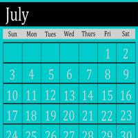Printable Cyan July 2011 Calendar - Printable Monthly Calendars - Free Printable Calendars