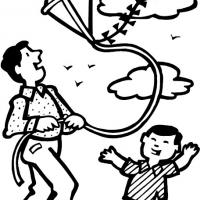 Printable Dad and Boy Flying Kite - Printable Coloring Sheets - Free Printable Coloring Pages