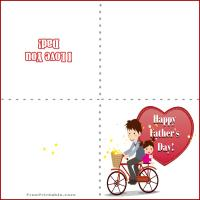 Printable Dad and Daughter on a Bike - Printable Fathers Day Cards - Free Printable Cards
