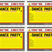Printable Dance Hazard Party Invitation - Printable Party Invitation Cards - Free Printable Invitations