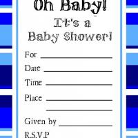 Printable Dark Blue and White Bordered Invitation - Baby Shower and Christening Invitations Cards - Free Printable Invitations