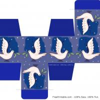 Dark Blue with White Dove Holiday Box