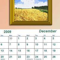 Printable December 2009 Oil Painting Calendar - Printable Monthly Calendars - Free Printable Calendars