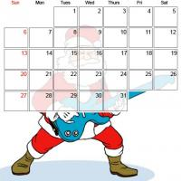 Printable December 2009 Rock And Roll Santa - Printable Monthly Calendars - Free Printable Calendars