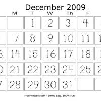 Printable December 2009 Writing Calendar - Printable Calendar Pages - Free Printable Calendars