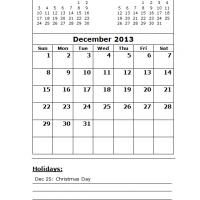 December 2013 Calendar with Holidays