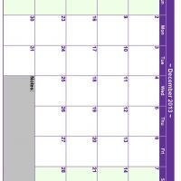 December 2013 Planner Calendar