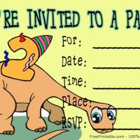 Printable Dinosaur Turning 2 Invitation - Printable Birthday Invitation Cards - Free Printable Invitations