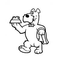 Printable Dog Serving Dinner - Printable Coloring Sheets - Free Printable Coloring Pages