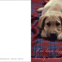 Printable Doggone Lonely - Printable Greeting Cards - Free Printable Cards