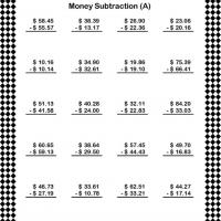 Dollar Subtraction Worksheet