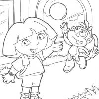 Printable Dora and Boots Play Ball - Printable Dora The Explorer - Free Printable Coloring Pages