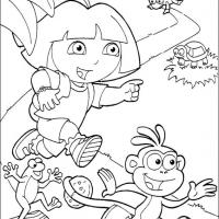Printable Dora and Boots Run - Printable Dora The Explorer - Free Printable Coloring Pages