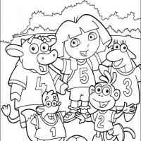 Printable Dora and Her Soccer Team - Printable Dora The Explorer - Free Printable Coloring Pages