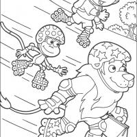 Printable Dora, Boots and Leon in Roller Skates - Printable Dora The Explorer - Free Printable Coloring Pages