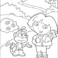 Printable Dora, Boots and the Map - Printable Dora The Explorer - Free Printable Coloring Pages