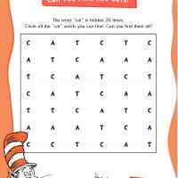 "Dr. Seuss ""Cat"" Word Search"