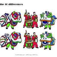 Printable Dragon Dance Spot the Difference - Printable Brain Teasers - Free Printable Games