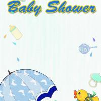 Duck and Umbrella Baby Boy Shower Invitation