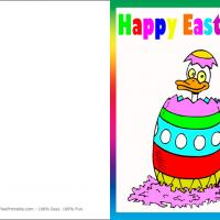 Printable Duck Out Of An Easter Egg - Printable Easter Cards - Free Printable Cards