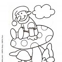Printable Dwarf on a Mushroom - Printable Coloring Sheets - Free Printable Coloring Pages