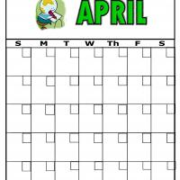 Earth And Pencil For April Blank Calendar