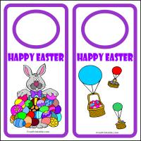 Printable Easter Bunny, Eggs and Balloons Door Hanger - Printable Fun - Free Printable Activities
