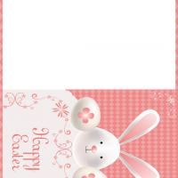 Printable Easter Bunny Pastel Pink Card - Printable Easter Cards - Free Printable Cards
