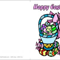 Printable Easter Eggs On A Basket - Printable Easter Cards - Free Printable Cards