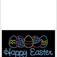 Printable Easter Neon Greetings - Printable Easter Cards - Free Printable Cards