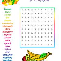 Easy Fruits Word Search