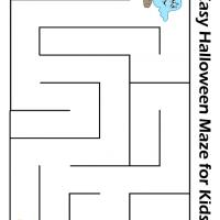 Printable Easy Ghost Finding the Jack-o-Lantern Maze - Printable Mazes - Free Printable Games